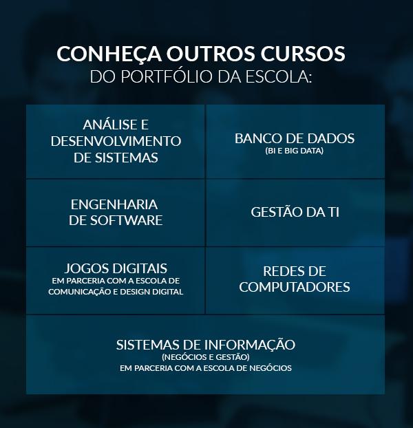 CONHEÇA OUTROS CURSOS  DO PORTFÓLIO DA ESCOLA: ANÁLISE E DESENVOLVIMENTO DE SISTEMAS, BANCO DE DADOS(BI E BIG DATA), ENGENHARIA DE SOFTWARE, GESTÃO DA TI, JOGOS DIGITAIS em parceria com a Escola de Comunicação e Design Digital, REDES DE COMPUTADORES, SISTEMAS DE INFORMAÇÃO (Negócios e Gestão)  em parceria com a Escola de negócios