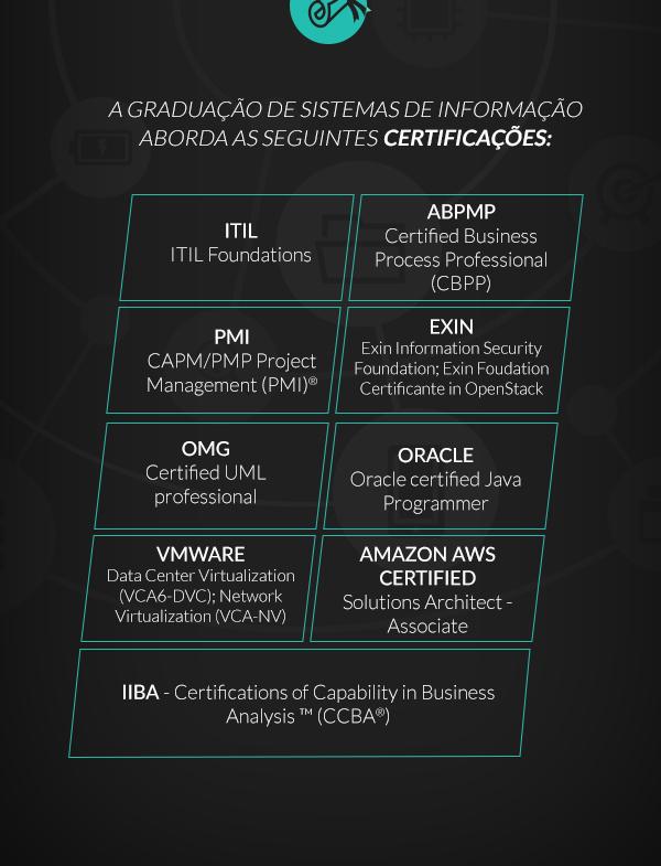 A graduação de sistemas de informação aborda as seguintes certificações