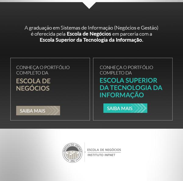 A graduação em sistemas de informação (negócios e gestão)é oferecida pela Escola de Negócios em parceria com a Escola Superior da Tecnologia