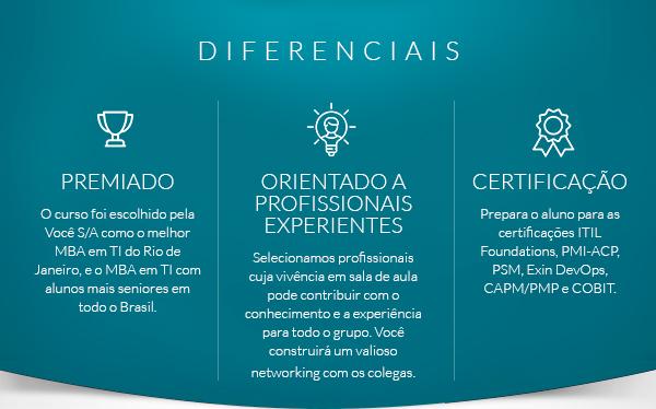 Certificações: ITIL Foundations; Project Management Professional (PMP)® e COBIT Foundations.