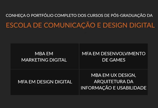 Conheça o portfólio completo dos cursos de Pós-Graduação da Escola de Comunicação e Design Digital