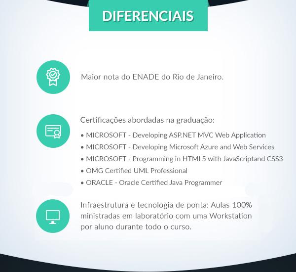 Diferenciais: Maior nota do Enade em toda a área de Computação e Informática da região metropolitana do Rio de Janeiro. A Graduação foi autorizada com e reconhecida com nota máxima, pelo MEC. // A graduação prepara o aluno para as quatro importantes certificações: • Microsoft Certifi ed Solution Developer (MCSD) • Oracle Certifi ed Java Programmer • OMG Certifi ed UML Professional • Microsoft MTA Developer   // Infraestrutura e tecnologia de ponta: Aulas 100% ministradas em laboratório com uma Workstation por aluno durante todod o curso.