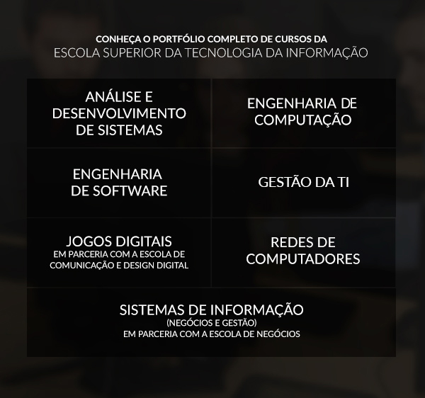 Conheça o portfólio completo de cursos da Escola Superior da Tecnologia da Informação