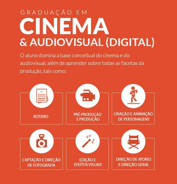 Graduação em Cinema e Audiovisual (Digital)   O aluno domina a base conceitual do cinema e do audiovisual, além de aprender sobre todas as facetas da produção, tais como: ROTEIRO, PRÉ-PRODUÇÃO E PRODUÇÃO, CRIAÇÃO E ANIMAÇÃO DE PERSONAGENS, CAPTAÇÃO E DIREÇÃO DE FOTOGRAFIA, EDIÇÃO E EFEITOS VISUAIS, DIREÇÃO DE ATORES E DIREÇÃO GERAL.