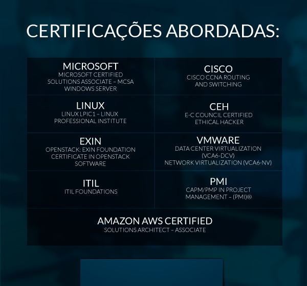 certificações abordadas