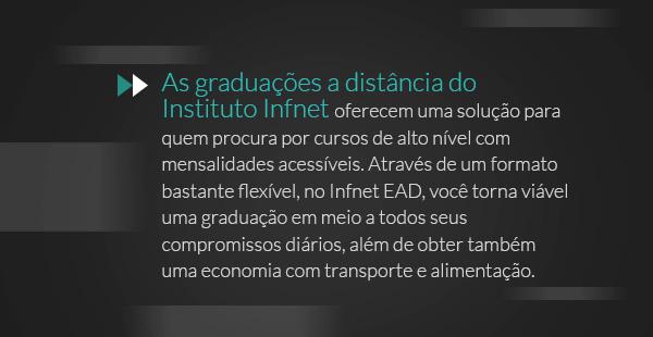 As graduações a distância do Instituto Infnet oferecem uma solução para quem procura por cursos de alto nível com mensalidades acessíveis. Através de um formato bastante flexível, no Infnet EAD, você torna viável uma graduação em meio a todos seus compromissos diários, além de obter também uma economia com transporte e alimentação.