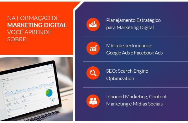 Na formação de marketing digital você aprende sobre