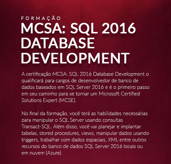 Formação MCSA: SQL 2016 DATABASE Development