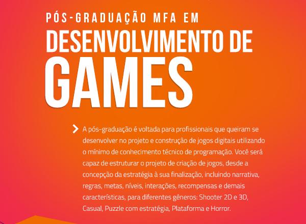 pós graduação mfa em desenvolvimento de games