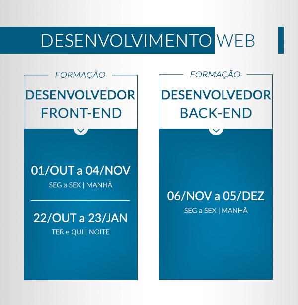 Calendário de Formacaoes - formação Desenvolvimento web Formação Desenvolvedor front-ed Formação Desenvolvedor Back-end Formação Designer de Interface e Usabilidade