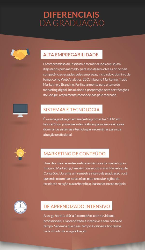 Diferenciais: Alta empregabilidade, Sistemas e Tecnologia, Marketing de Conteúdo, Aprendizado intensivo.