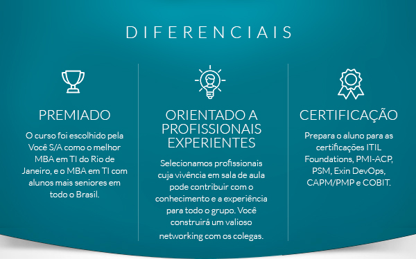 Certificações: ITIL Foundations; Project Management Professional (PMP)® e COBIT Foundations.