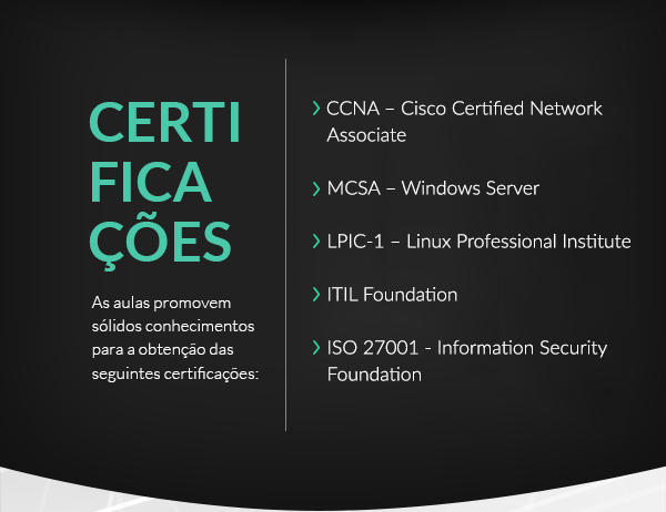certificações, as aulas promovem sólidos conhecimentos para a obtenção das seguintes certificações