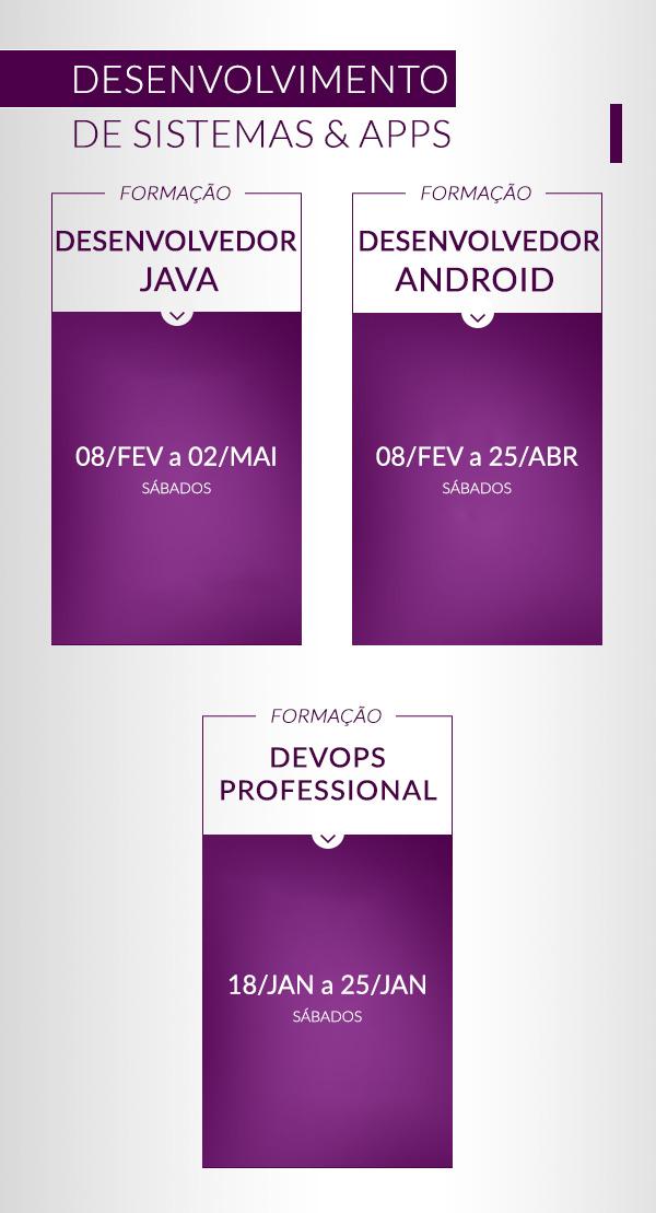 Calendário de Formações 20180124 Formação Desenvolvedor Java Formação Desenvolvedor Android Formação MCSD: App Builder