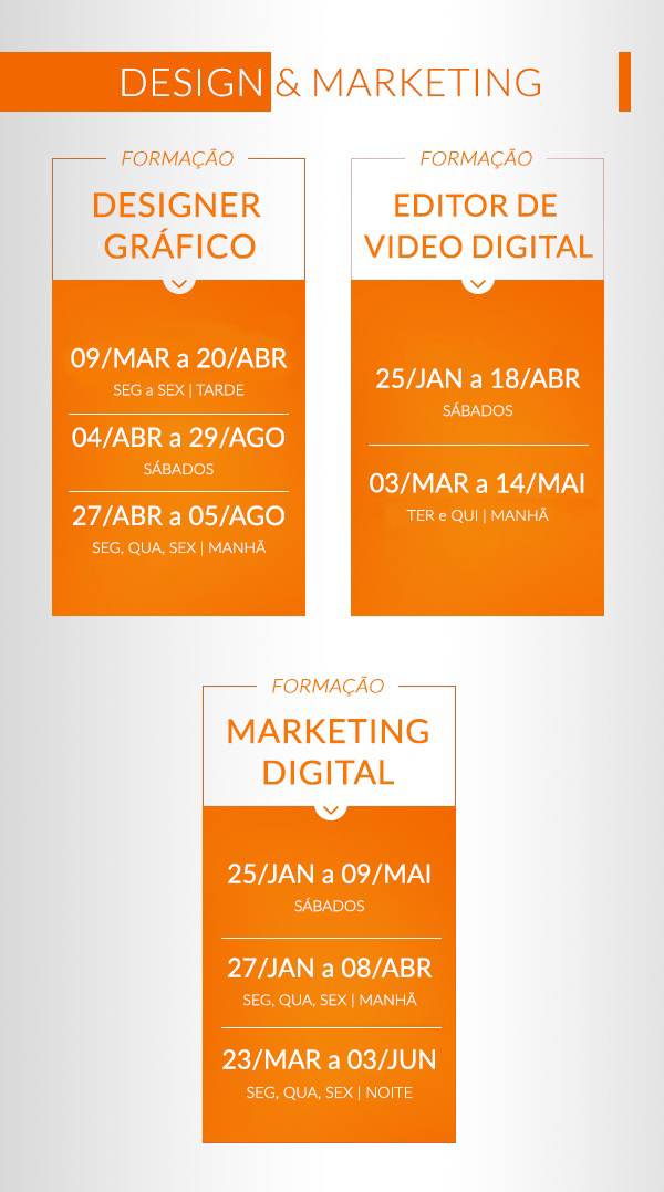 Calendário de Formações Design e Marketing Formação Designer gráfico Formação Editor de vídeo digital Formação Marketing digital